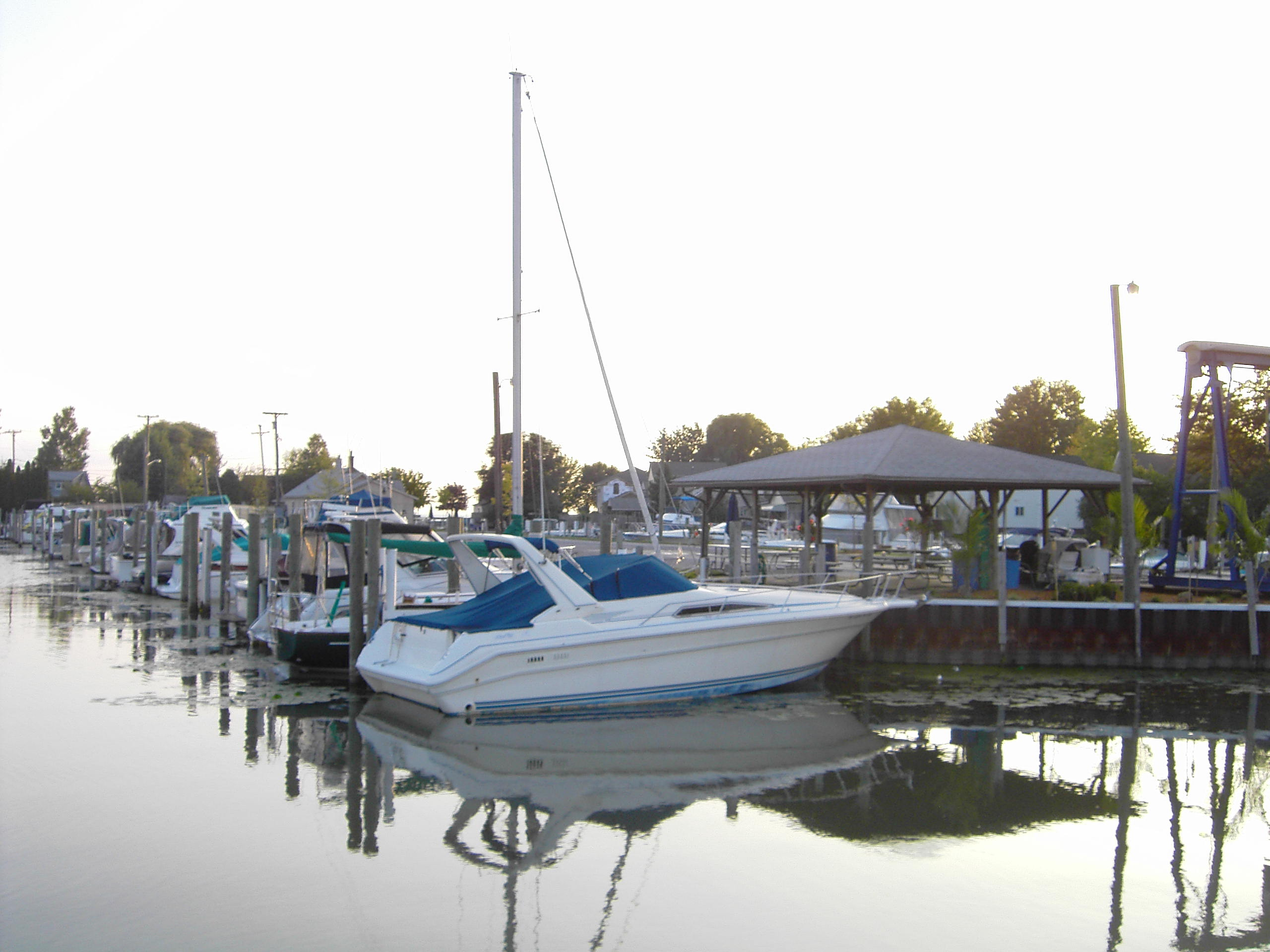 Boat Slips at Swan Creek Harbor Marina on Anchor Bay offering winter storage.